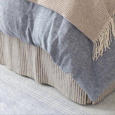 Close up of corner of a bed